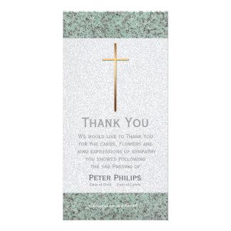 El entierro de piedra cruzado del oro le agradece plantilla para tarjeta de foto