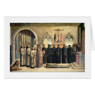 El entierro de St Jerome, c.1470-1472 (el aceite e Tarjeta De Felicitación
