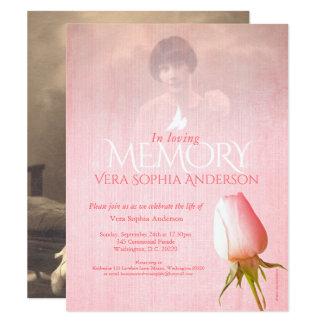 El entierro subió rosa de la foto de la ceremonia invitación 10,8 x 13,9 cm