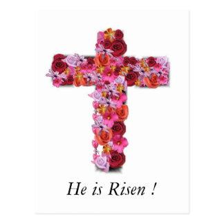 Él es cruz floral de saludo cristiana subida de postal