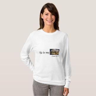 Él es mi roca, camiseta de la foto de la roca del