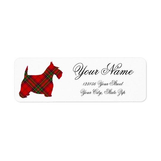 El escocés de la tela escocesa personaliza la etiquetas de remite