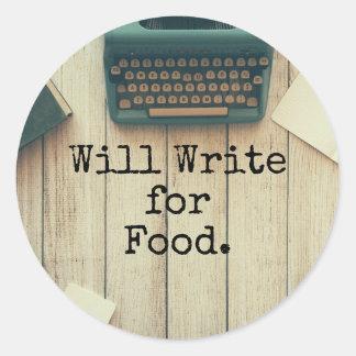 El escritor escribirá para la comida pegatina redonda