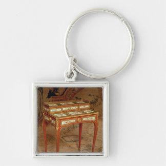 El escritorio de la mujer con los paneles de la po llavero