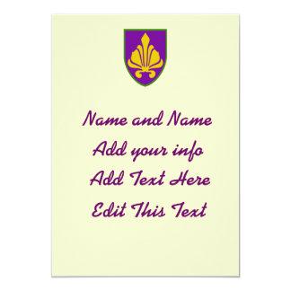 El escudo de lujo de Fleur, corrige el texto Invitación 12,7 X 17,8 Cm
