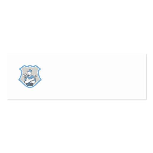 El escudo del mecánico del aire acondicionado de l tarjeta de visita