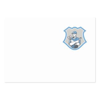 El escudo del mecánico del aire acondicionado de l plantilla de tarjeta de visita