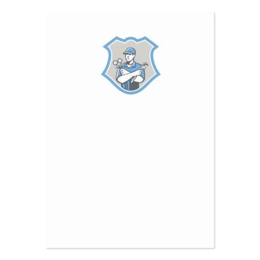 El escudo del mecánico del aire acondicionado de l tarjetas de visita