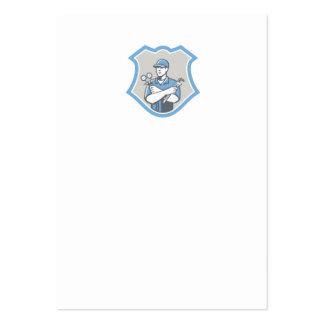 El escudo del mecánico del aire acondicionado de tarjetas de visita grandes