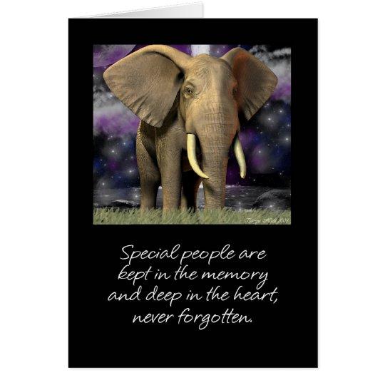 El espacio en blanco de la tarjeta del elefante