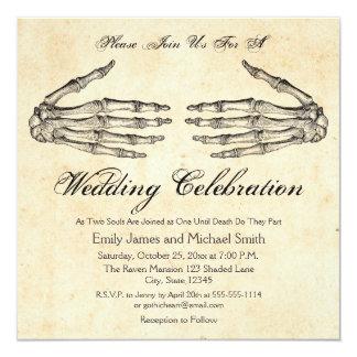 El esqueleto da la invitación gótica del boda