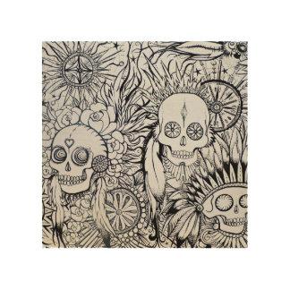 el esqueleto indio nativo del cráneo del tatuaje impresión en madera