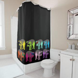 El estallido colorea la cortina de ducha china del