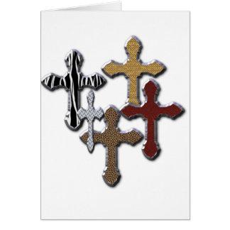 El estampado de animales cruza la textura de plata tarjeta de felicitación