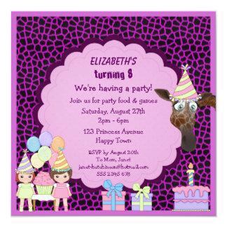 El estampado de animales púrpura de los chicas, de invitación 13,3 cm x 13,3cm