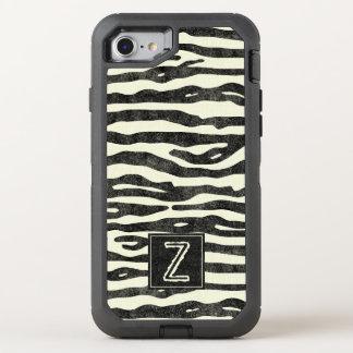El estampado de zebra Ecru negro raya el monograma Funda OtterBox Defender Para iPhone 7