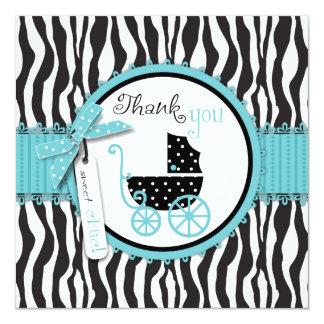 El estampado de zebra y el carro de bebé le invitación 13,3 cm x 13,3cm