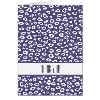 El estampado leopardo púrpura le agradece tarjeta pequeña