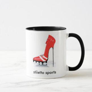El estilete se divierte la taza roja del listón