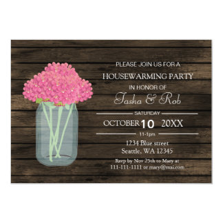 el estreno de una casa floral rosado del tarro de invitación 12,7 x 17,8 cm