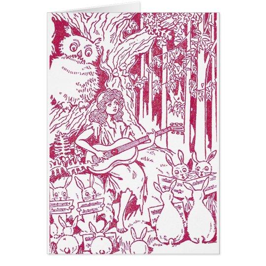 El estribillo de conejos canta al búho y al chica tarjeta de felicitación