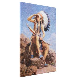 El explorador de Leigh, indio del nativo americano Lienzo Envuelto Para Galerias