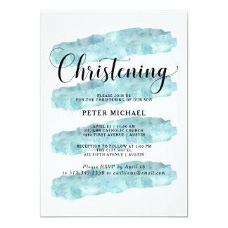El extracto azul raya bautizo de la acuarela del | invitación 12,7 x 17,8 cm