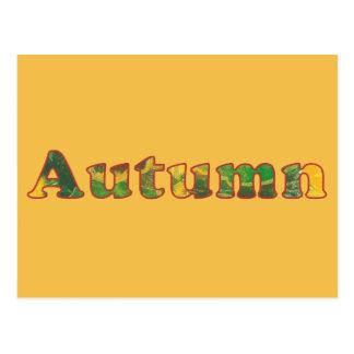 El extracto del otoño de la palabra colorea las postal