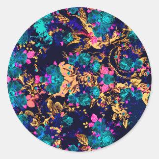 El extracto elegante lindo florece el fondo pegatina redonda