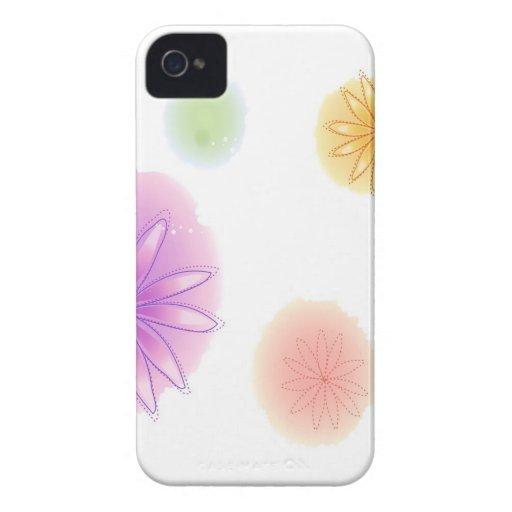 El extracto florece el chapoteo blanco iPhone 4 cárcasas
