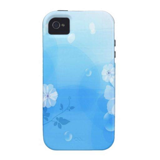 El extracto florece el jardín azul Case-Mate iPhone 4 carcasas