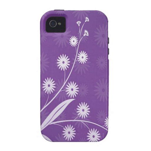 El extracto florece el modelo púrpura iPhone 4/4S carcasa