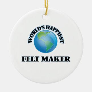 El fabricante más feliz del fieltro del mundo adorno redondo de cerámica