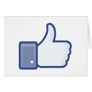el facebook TIENE GUSTO del pulgar encima del gráf Tarjeton