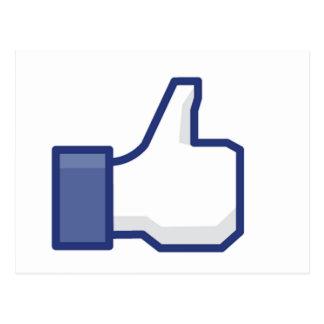 el facebook TIENE GUSTO del pulgar para arriba Postal