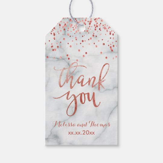 el falso confeti color de rosa del oro le agradece etiquetas para regalos