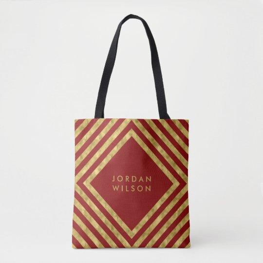 El falso cuadrado rojo elegante del oro alinea bolso de tela