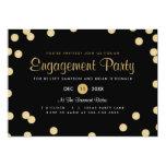 El falso fiesta de compromiso del confeti del oro invitaciones personalizada