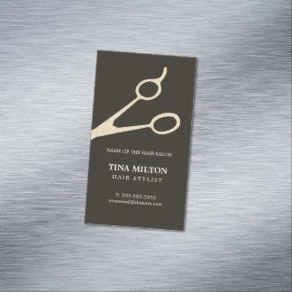 El falso metal gris oscuro minimalista Scissors el Tarjeta De Visita Magnética