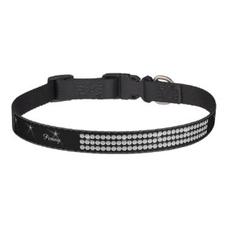 El falso negro del brillo del diamante añade el collares de perro