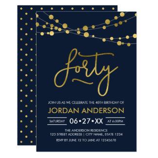 El falso oro azul moderno elegante enciende el invitación 12,7 x 17,8 cm