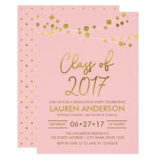 El falso oro color de rosa enciende la clase de la invitación 12,7 x 17,8 cm