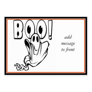 """¡El fantasma de Halloween dice """"ABUCHEO! """" Tarjetas De Visita Grandes"""