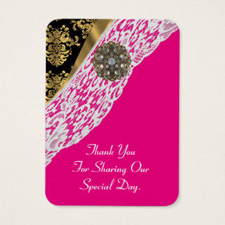 el favor blanco del boda del cordón del oro rosado tarjeta de negocios