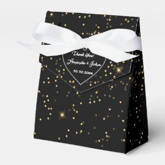 El favor brillante de oro blanco negro del boda le caja para regalos