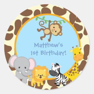 El favor de la fiesta de cumpleaños de la selva pegatina redonda