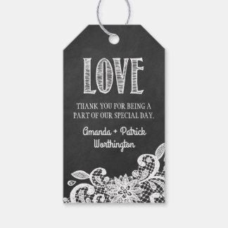 El favor del boda del cordón de la pizarra le etiquetas para regalos
