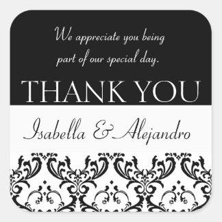 El favor del boda del damasco le agradece pegatina cuadrada