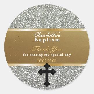 El favor el | del bautismo del bebé le agradece pegatina redonda