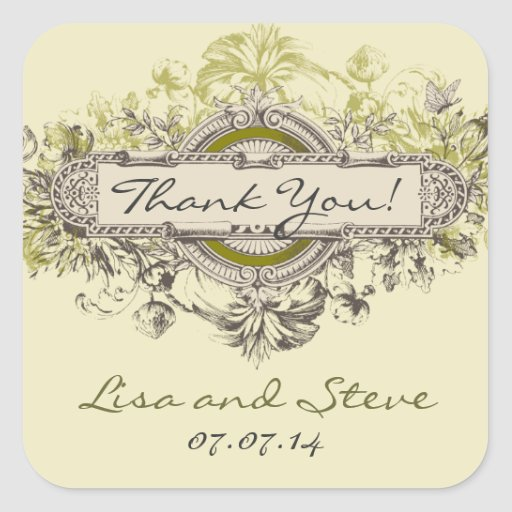 El favor floral del boda del vintage le agradece p calcomania cuadrada personalizada